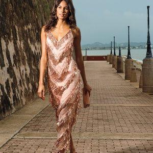 AIDAN MATTOX Sequin Fringe VNeck Embroidered Dress